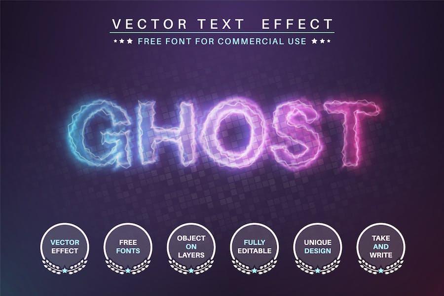 Glow ghost - редактируемый текстовый эффект, стиль шрифта