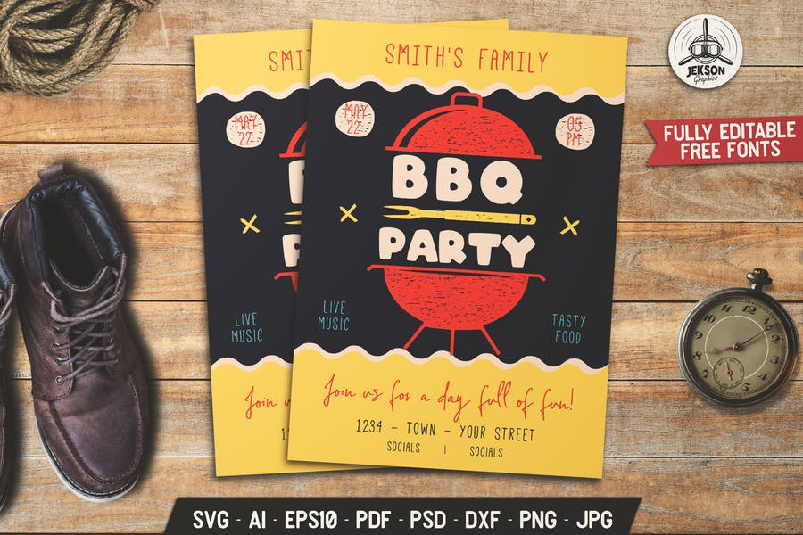 BBQ Party Flyer. Summer Barbecue Poster