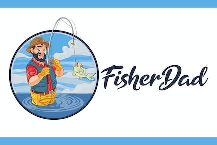 Fishing Dad - Fishing Mascot Logo