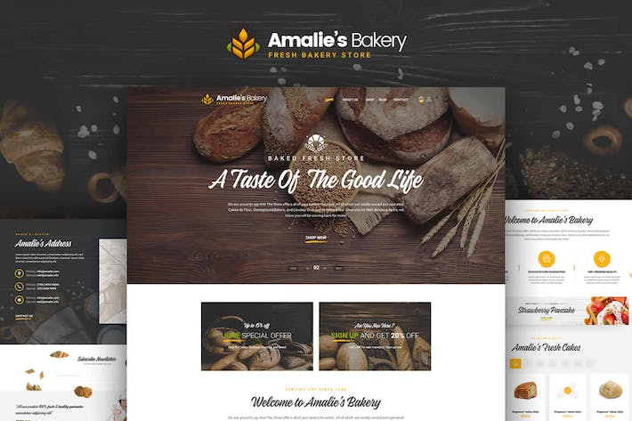 Thumbnail for Amalie's Bakery - Onepage PSD Template