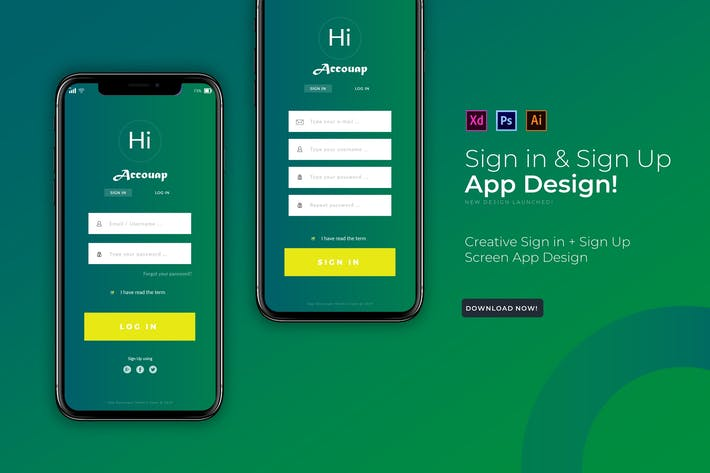 Thumbnail for Accouapp Sign In & Login | App  Template