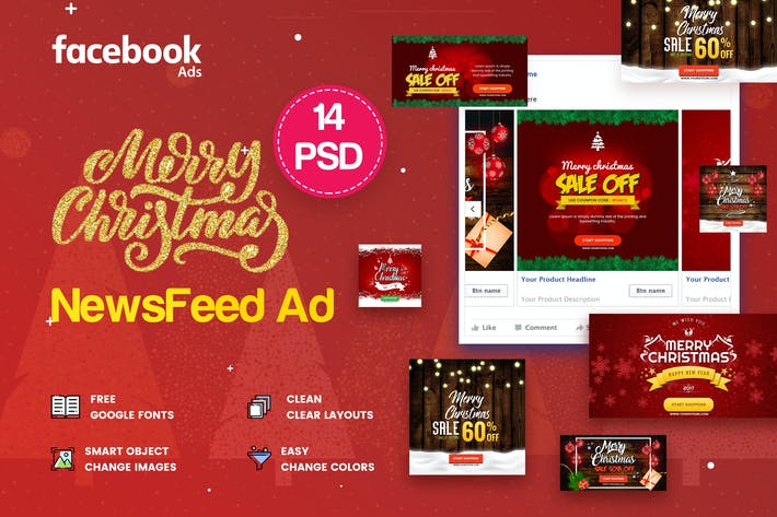 Thumbnail for NewsFeed Merry Christmas Banners Ad - 16 PSD