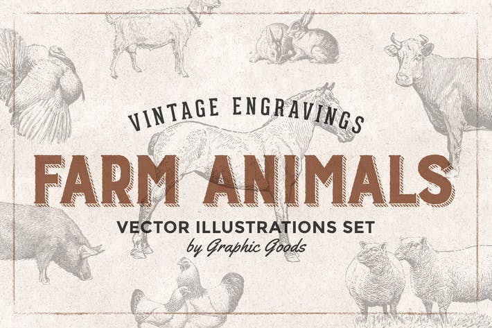 Thumbnail for Farm Animals Engraving Illustrations