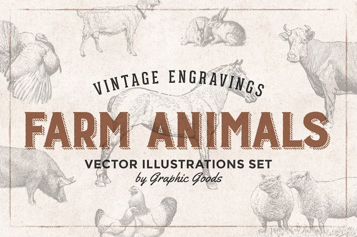 Farm Animals Engraving Illustrations