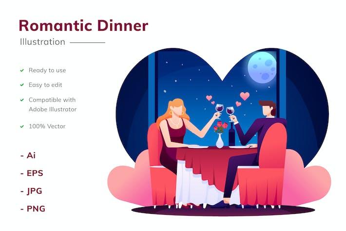Thumbnail for Romantic Dinner Illustration