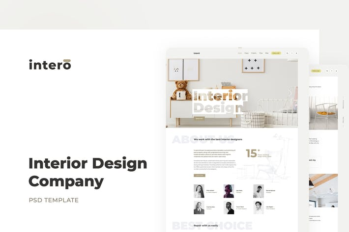 Thumbnail for Interior Design Agency PSD Template – Intero
