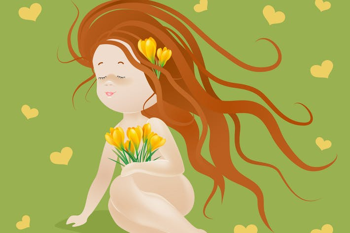 Thumbnail for Beautiful girl with spring flowers. Vector