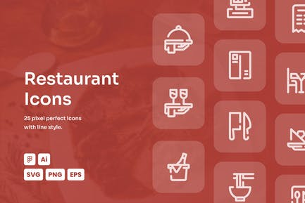 Restaurant Dashed Line Icons