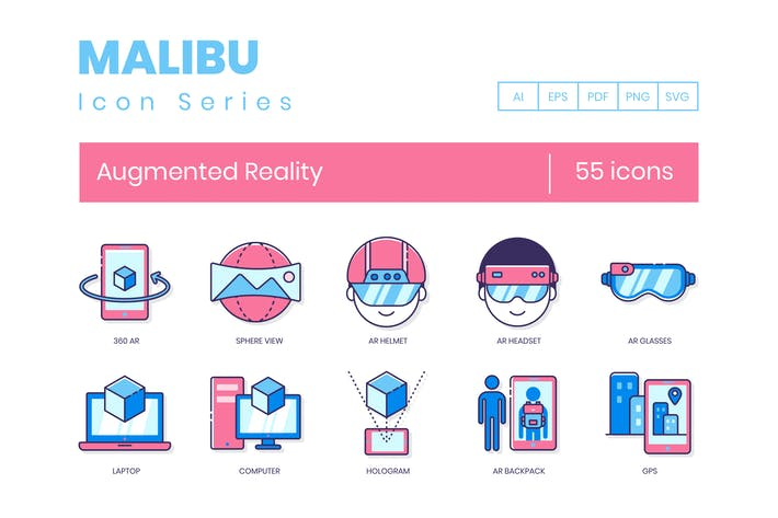 Thumbnail for 55 Augmented Reality Line Icons