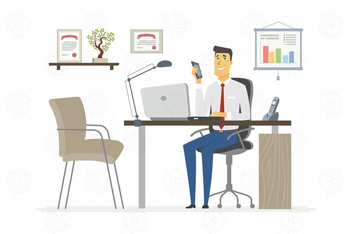 Thumbnail for Office Man - modern vector flat illustration