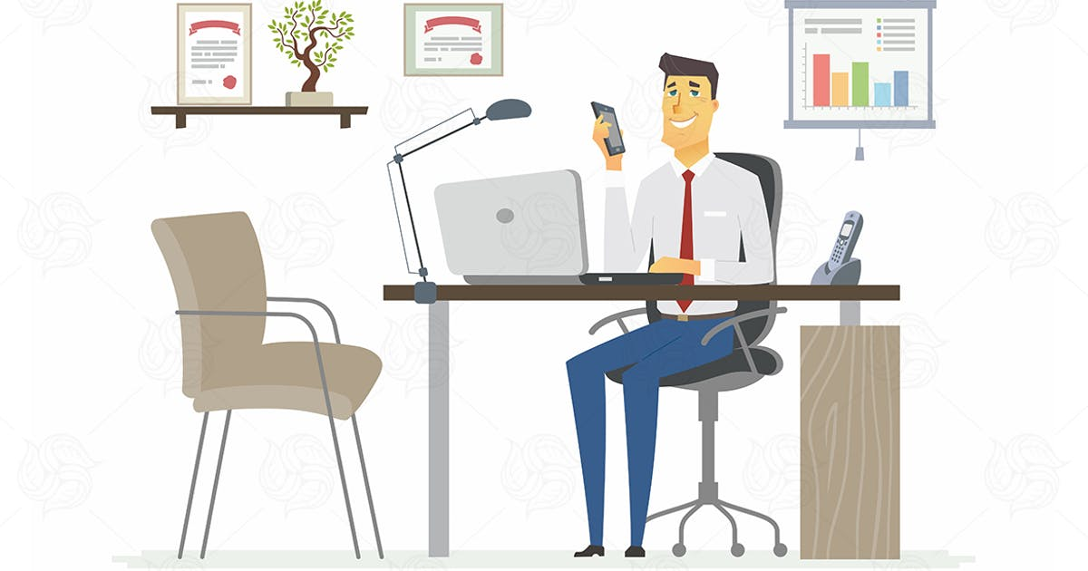 Download Office Man - modern vector flat illustration by BoykoPictures