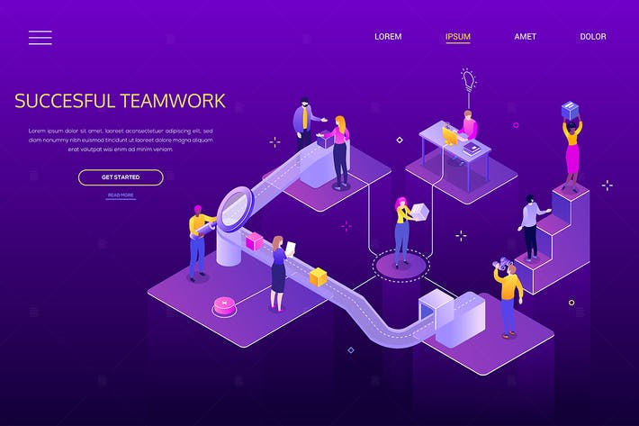 Successful teamwork - colorful isometric banner