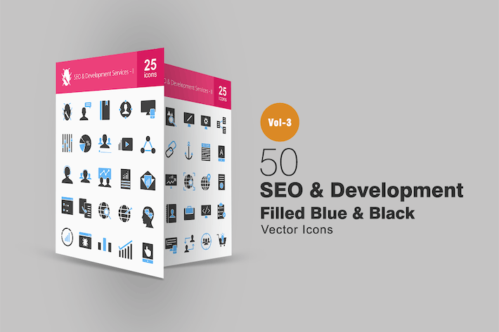 Cover Image For 50 SEO & Development Blue & Black Icons