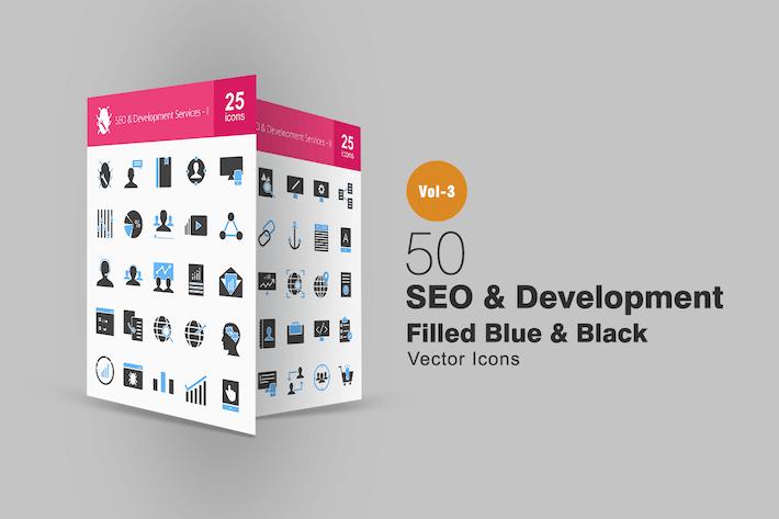 Thumbnail for 50 SEO & Development Blue & Black Icons