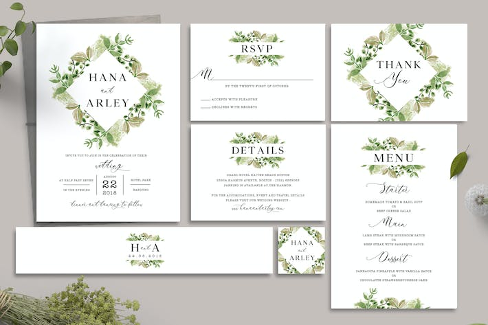 Cover Image For Leaves Wedding Invitation