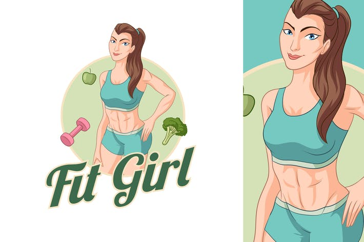 Thumbnail for Healthy Fitness Girl Mascot Logo