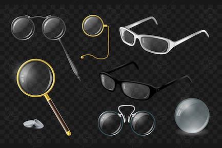 Set of optics - vector realistic isolated clip art