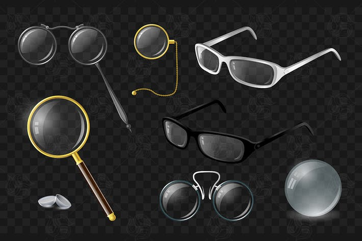 Thumbnail for Set of optics - vector realistic isolated clip art