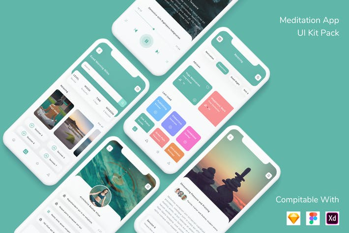 Thumbnail for Meditation App UI Kit Pack