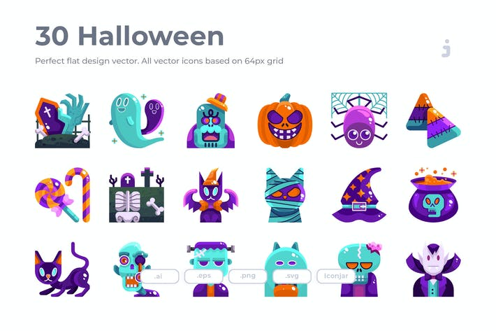 Thumbnail for 30 Halloween Icons - Flat