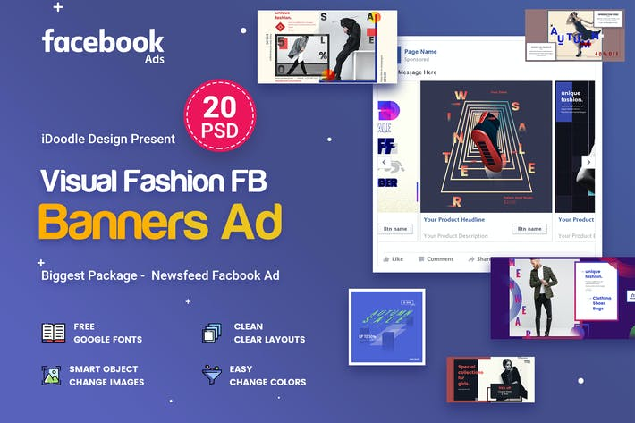 Visual Challenge NewsFeed Facebook Ad - 20 PSD