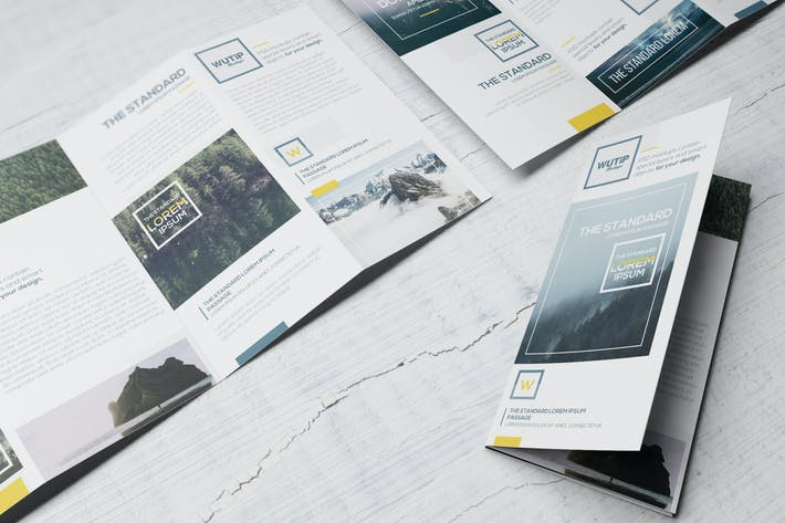 Thumbnail for Four Panel Fold Brochure Mockups