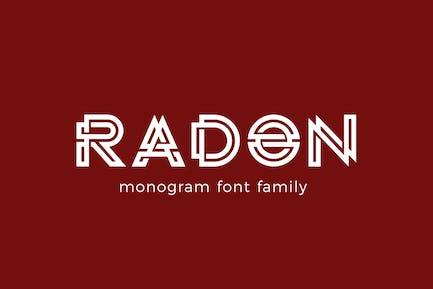 Logo de monograma RADON FONT