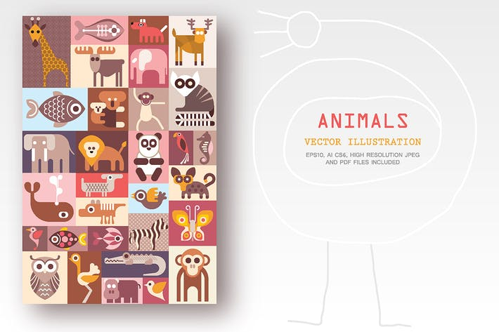 Thumbnail for Ilustración Vector animales