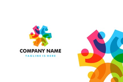 Diversity People Overlapping Color Logo