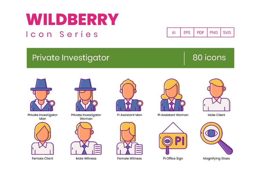 80 Private Investigator Icons - Wildberry-Serie