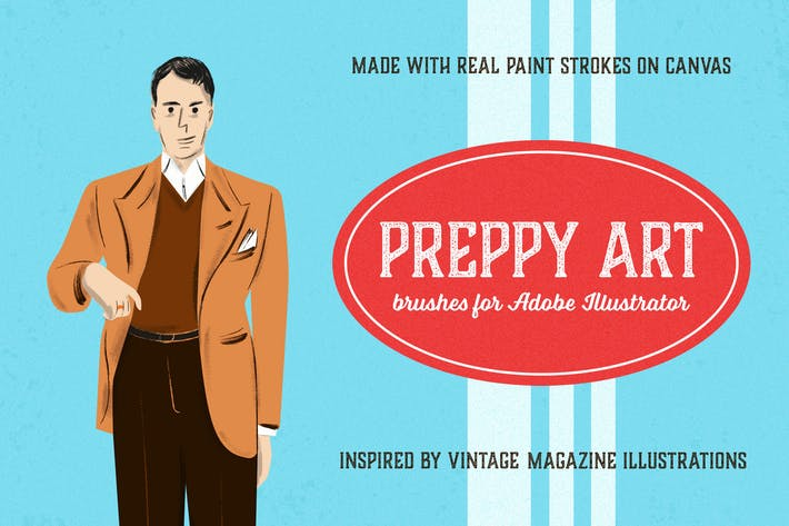 Cover Image For Preppy Art Brushes for Adobe Illustrator