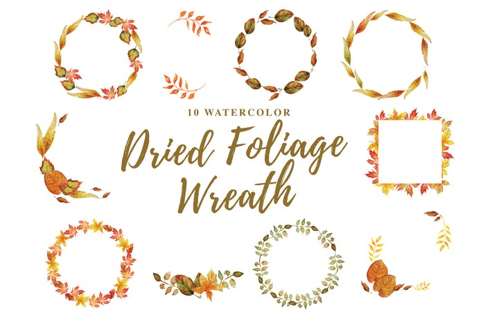 Thumbnail for 10 Watercolor Dried Foliage Wreath Illustration