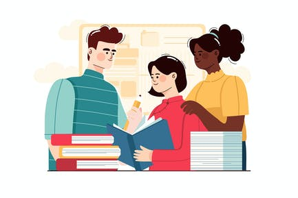 Multi-ethnic Students Working Together