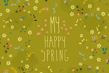 Nahtloses Frühlingsblumenmuster auf grünem Hintergrund