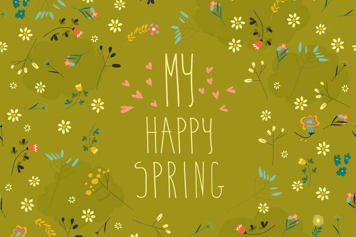 Thumbnail for Seamless spring flower pattern on green background