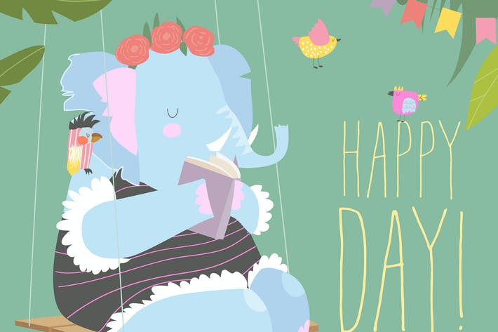 Thumbnail for Cute cartoon elephant reading book and swinging on