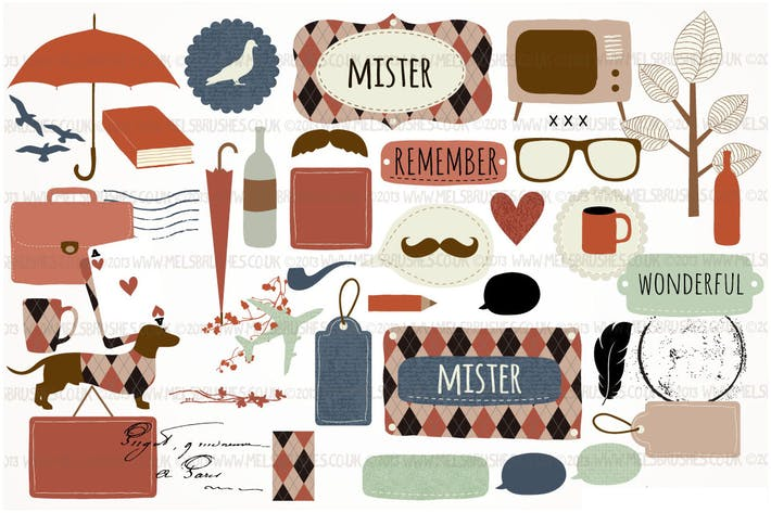 Thumbnail for Mister Hipster Graphics Set