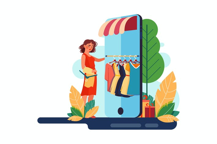Thumbnail for Girl choosing cloth in a mobile online shop.