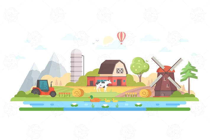 Thumbnail for Village - flat design style vector illustration