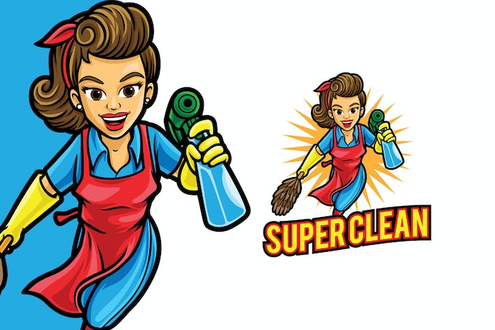Thumbnail for Super Clean Mom Logo Mascot Template