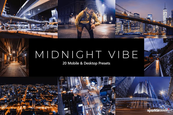 Thumbnail for 20 Midnight Vibes Lightroom Presets & LUTs