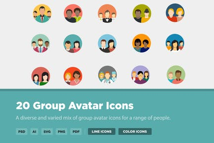 20 Group Avatar Icons