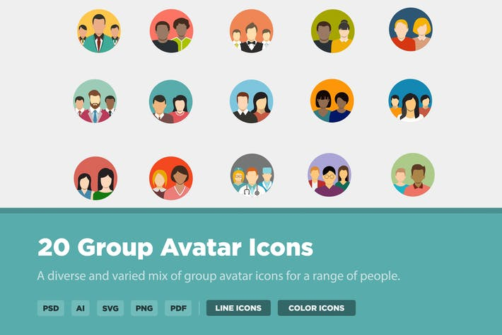 Thumbnail for 20 Group Avatar Icons