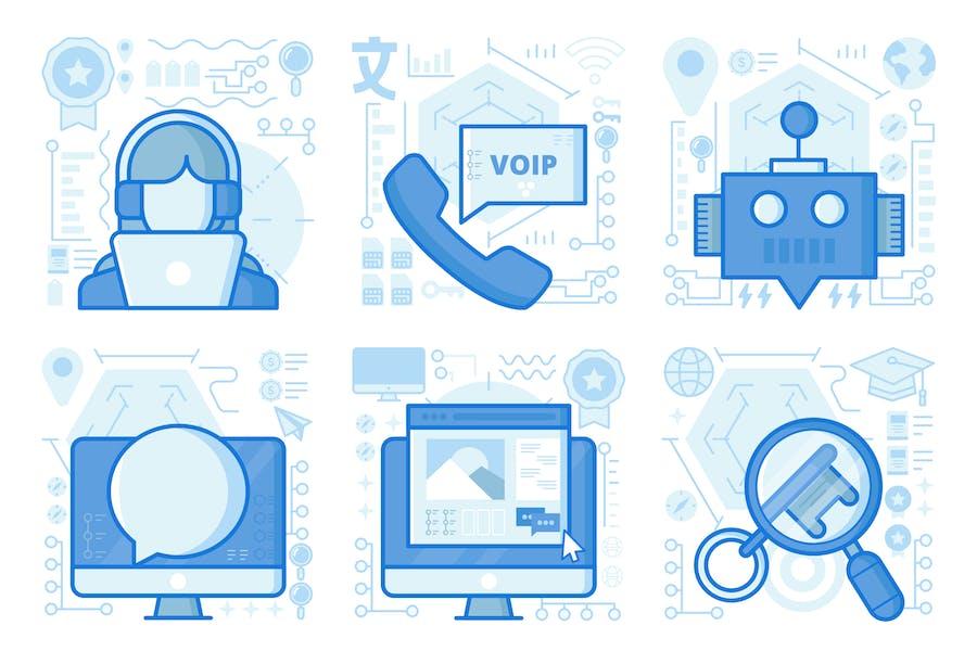 Website Chat UI UX Illustrations