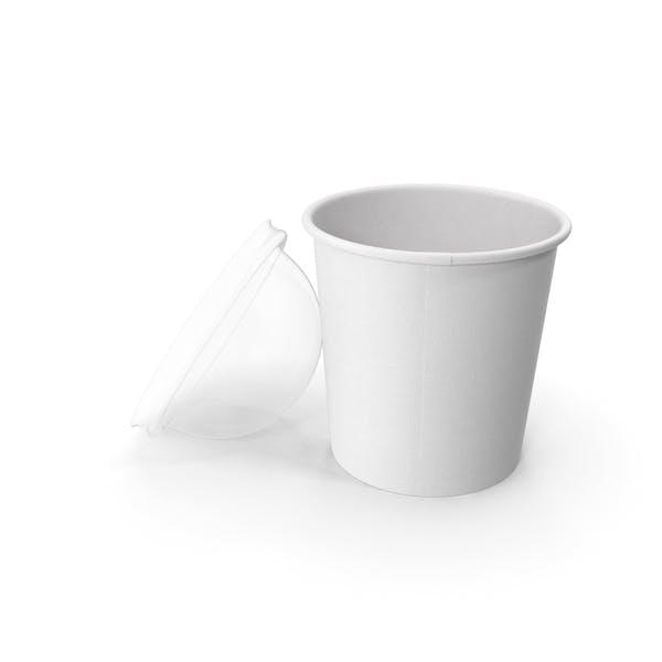 Taza de papel con tapa transparente para postre, 450 ml, abierto