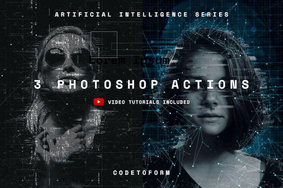Искусственный интеллект Серия Photoshop Действия