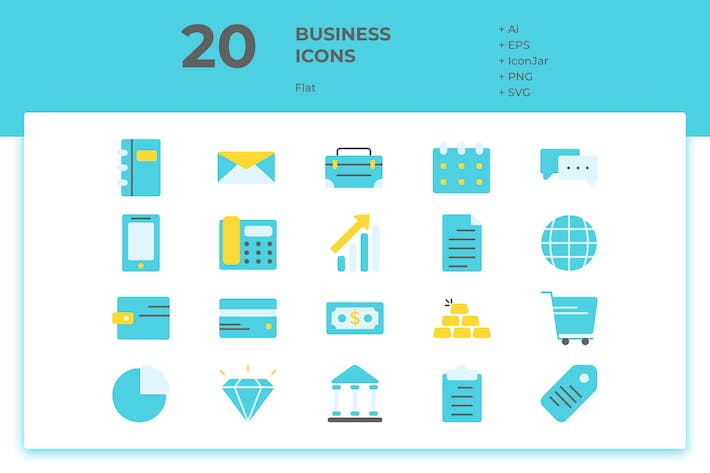Thumbnail for 20 Business Icons (Flat)