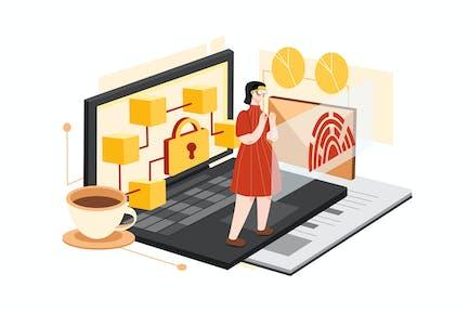 AR Blockchain Platform Illustration Concept