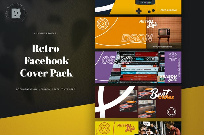 Thumbnail for Retro Facebook Cover Pack