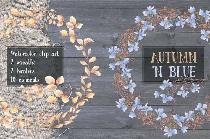 Thumbnail for Autumn 'n Blue: Watercolor Clip Art
